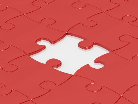 red jigsaw puzzle assembly with one puzzle missing photo