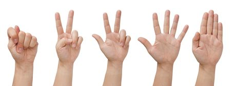 set of five isolated hands with various gestures Stock Photo - 7897569