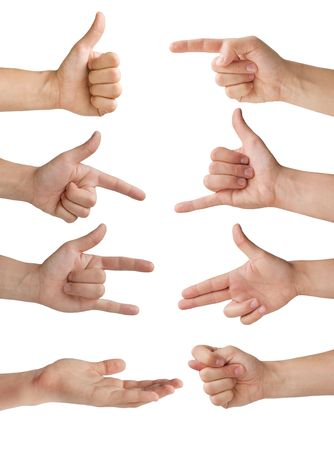 set of eight isolated hands with various gestures Stock Photo - 7897570
