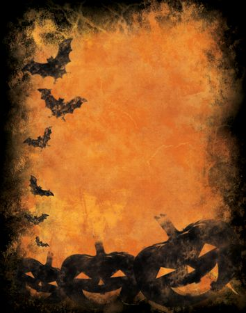 Grunge textured background withr halloween pumpkins and bats photo