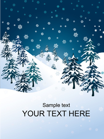 snowflakes falling over evergreen trees and hills Vector