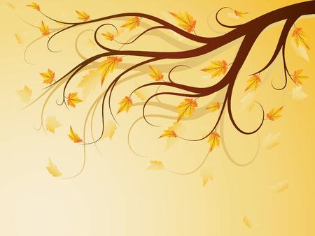 autumn composition with falling leaves Ilustração