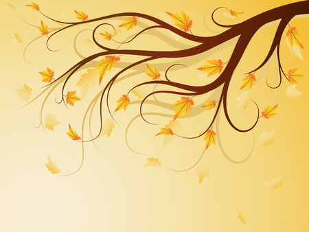 samples:   autumn composition with falling leaves Illustration