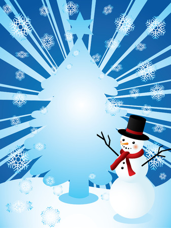 Snowman and christmas tree Stock Vector - 8069444
