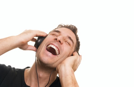 handsome man listening the music