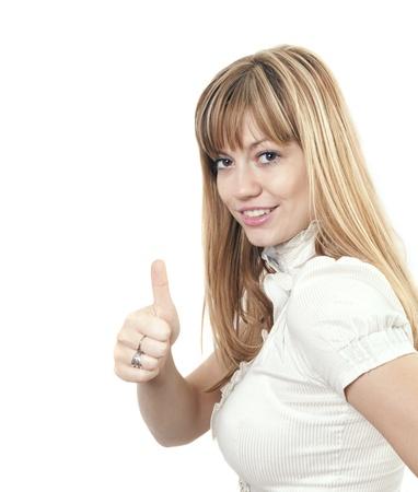 Young beautiful woman showing OK photo