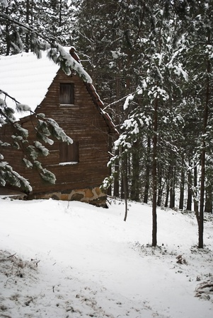 log cabin in snow: Cottage in the mountain at winter