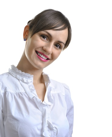 assistent: Portrait of a young attractive business woman isolated over white Stock Photo
