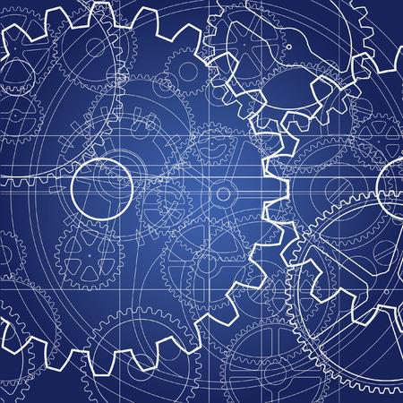 Gears blauwdruk Vector Illustratie