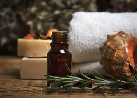 spa and body care composition with aromatherapy oil and natural soap photo
