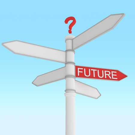 crossroad sign with one way future direction Stock Photo - 8797480