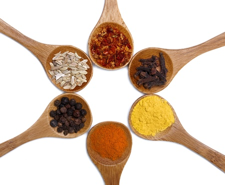 smell: Various of spices in wooden spoon