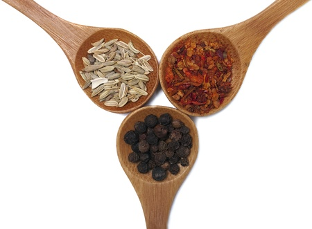 Various of spices in wooden spoon photo