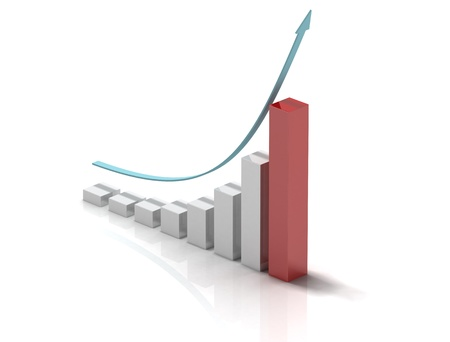 exponential: 3d bar chart of exponential growth Stock Photo