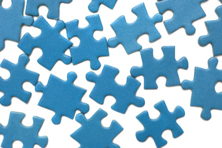 blue puzzle isolated over white Stock Photo - 9114889