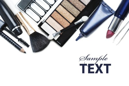 Various cosmetics isolated over white photo