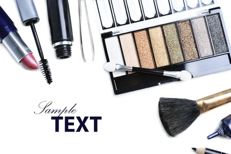 set up: Various cosmetics isolated over white Stock Photo