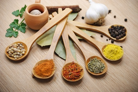 Various of spices in wooden spoon Stock Photo - 9362660