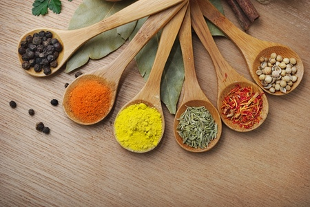 Various of spices in wooden spoon Stock Photo - 9369046