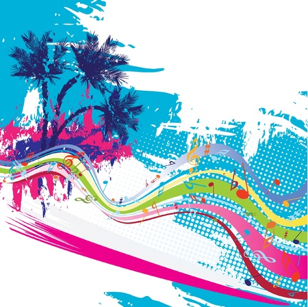 party dj: Conception de vecteur tropicales Illustration