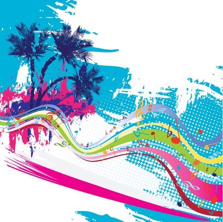 fiesta dj: Diseño vectorial tropical
