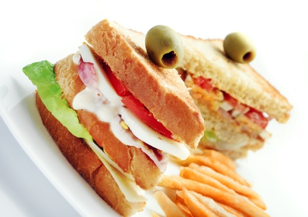 club sandwiches and french fries Stock Photo - 9673015