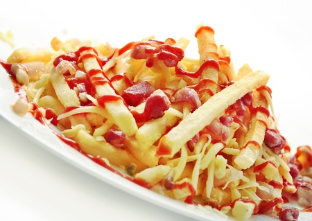 fries: Delicious french fries with bacon and cheese