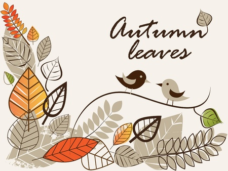 Vector autumn composition with falling leaves  Stock Vector - 10224242