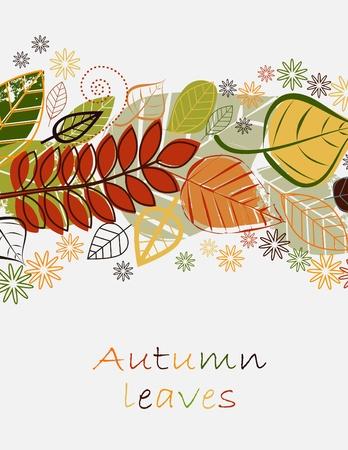 Composición de otoño de vectores con las hojas caídas  Ilustración de vector