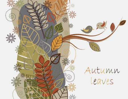 oak leaves: Vector autumn composition with falling leaves Illustration
