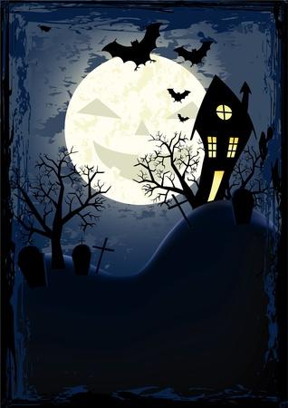 Halloween grunge poster. Vector