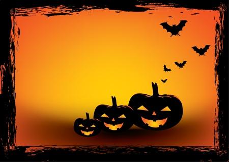 halloween silhouette: Halloween grunge poster.