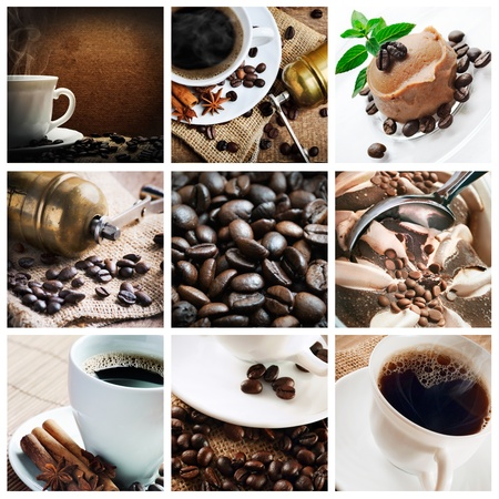 cafe shop: Collage of coffee and coffee products