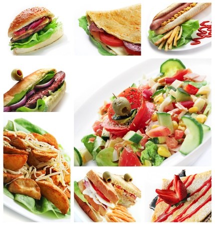 Collage of different restaurant dishes on white background