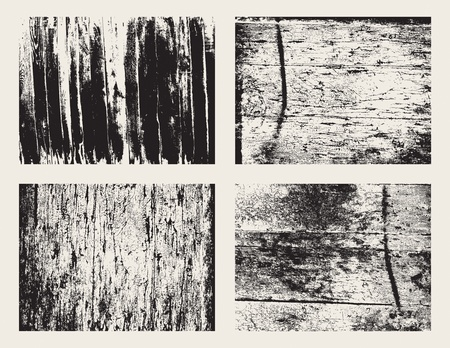 Vector collection of four wooden grunge textures