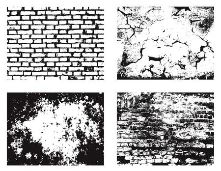 mur grunge: Vecteur de collecte des textures des murs grunge