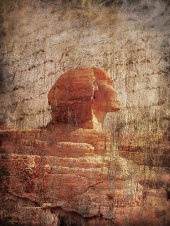 Sphinx  on grunge background photo