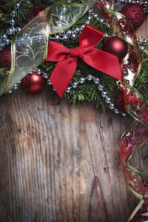 Christmas decoration on wooden plank photo