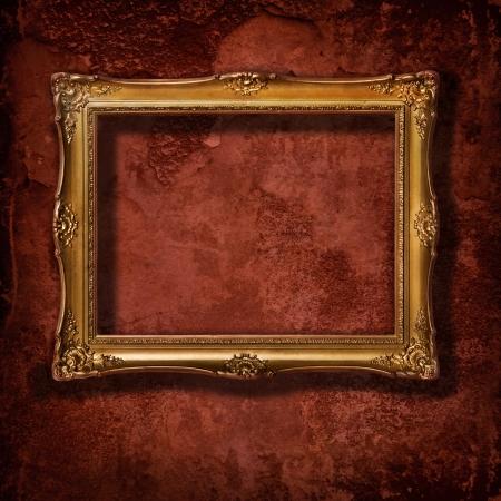 Jahrgang goldenen Rahmen auf Grunge Betonwand