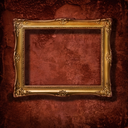 mirror on wall: Vintage golden frame on grunge concrete wall