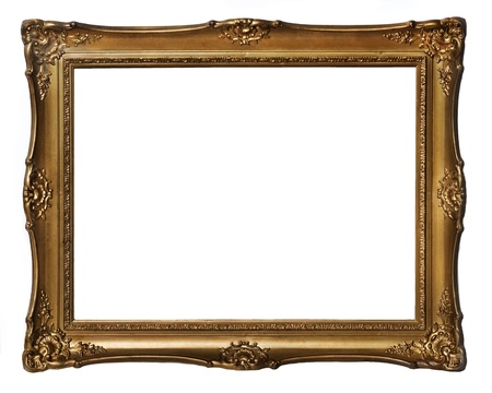 frame photo: Vintage golden frame isolated over white background Stock Photo