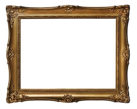 Vintage golden frame isolated over white background Stockfoto