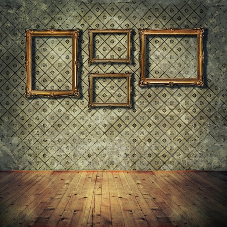 dirty room: Vintage golden frames on grunge wall Stock Photo