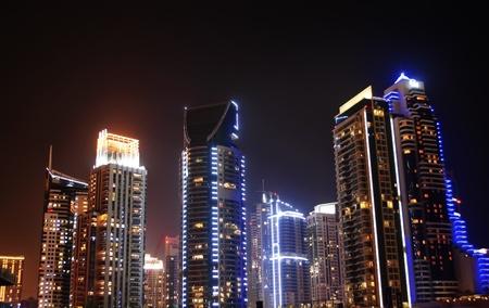 gulf: Dubai marina at night. Stock Photo