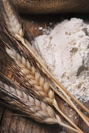 flour mill: Wheat ears and flour sack on grunge wooden board Stock Photo