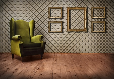 room wallpaper: Vintage room with wallpaper and old fashioned armchair Stock Photo