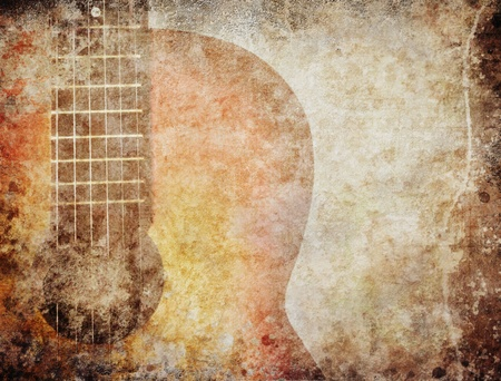 Grunge background with red guitar photo