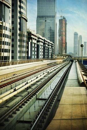 Verenigde Arabische Emiraten: Railroad in Dubai, Verenigde Arabische Emiraten Stockfoto