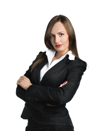 Confident business woman isolated over white