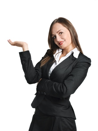 sexy office girl: Smiling business woman showing something. Isolated over white.